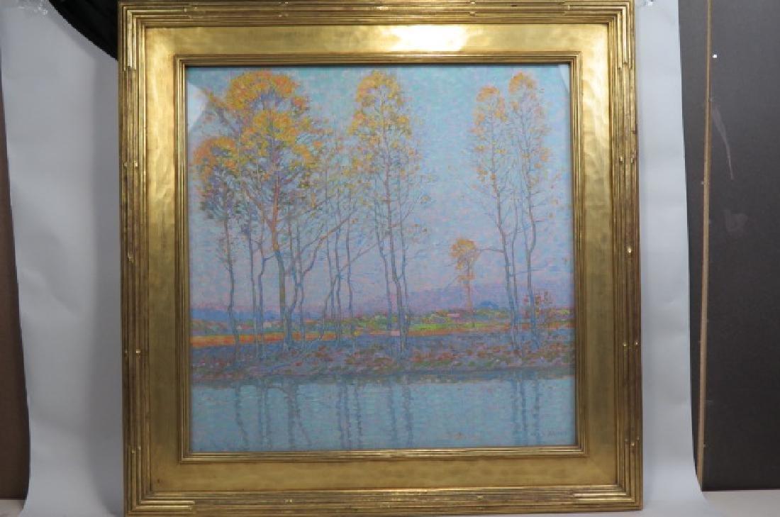 """George Gustav Adomeit, oil, """"River Shore"""","""