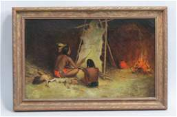 M. Burels, oil, Indians painting on a hide,
