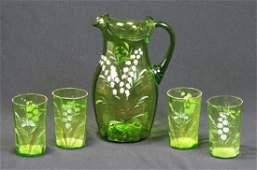 Victorian Enameled Emerald Glass Beverage Set