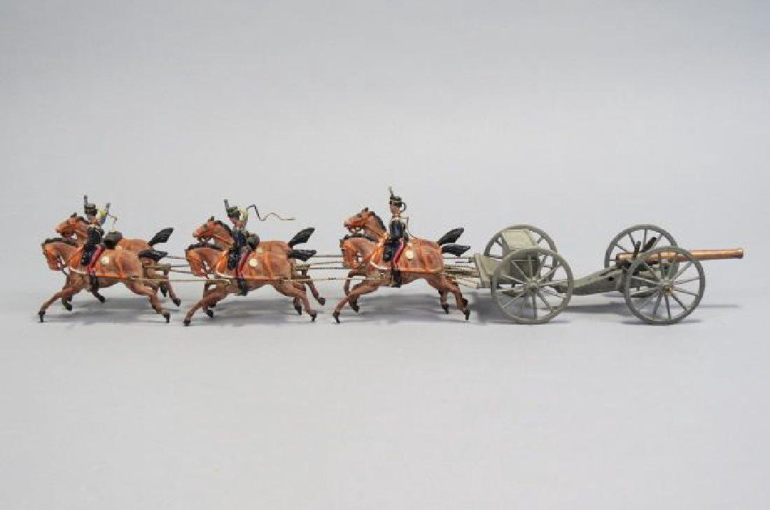 Lead Miniature Horse Drawn Caissons with Cannon,