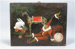 Folk Art Oil Painting of Children's Toys