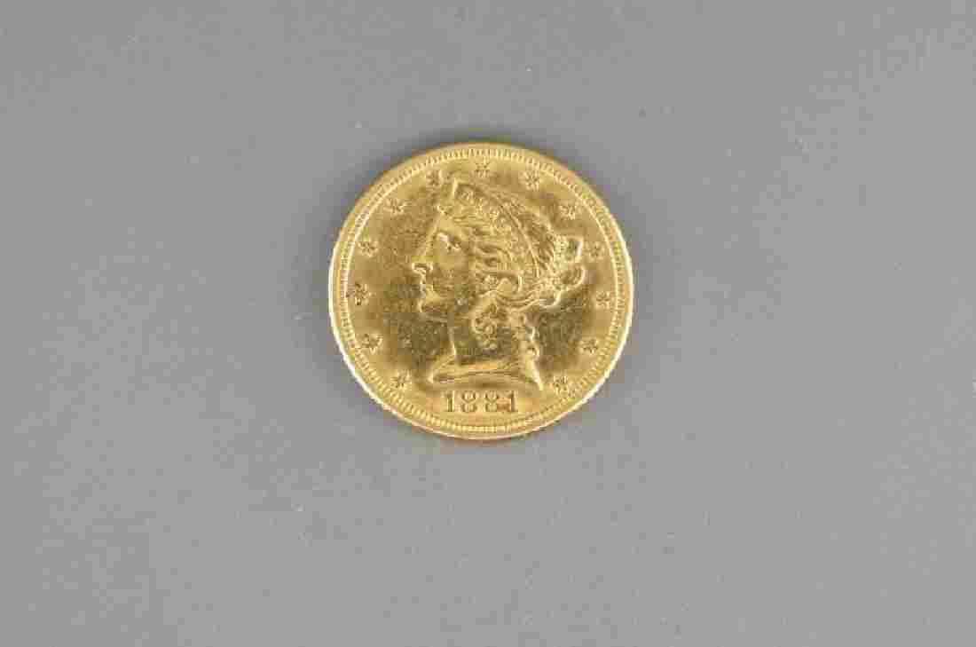 1881 U.S. $5.00 Liberty Head Gold Coin,