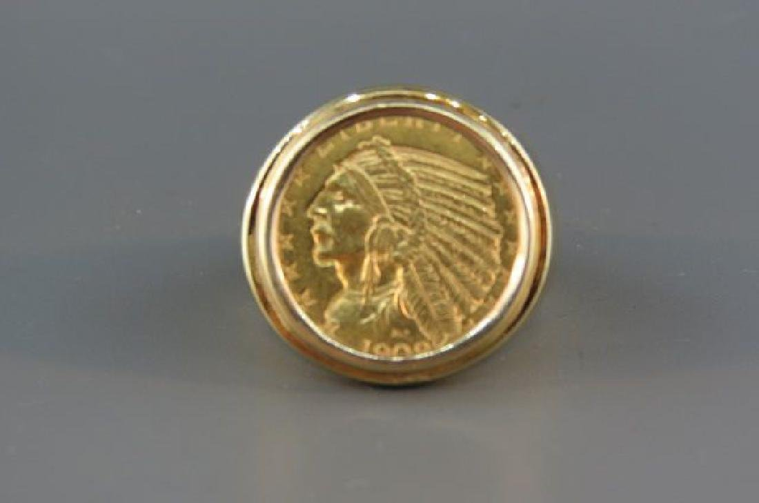 1909 U S $5 00 Indian Gold Coin Ring