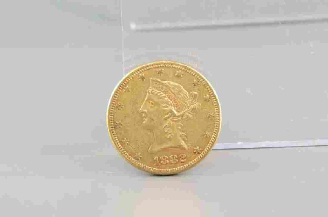 1882 U.S. $10.00 Liberty Head Gold Coin,