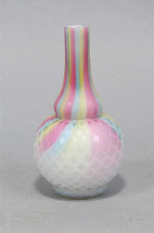 Rare Victorian Rainbow Satin Glass Vase