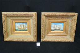 Pair of Oil Paintings of Sailing Ships,