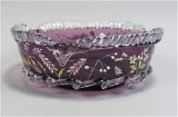 Victorian Enameled Art Glass Brides Bowl