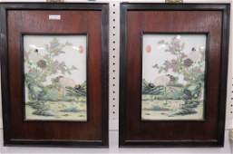 Pair of Chinese Porcelain Famille Rose Plaques,
