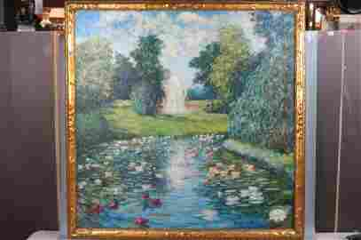Blondelle Malone, oil, garden with water lillies