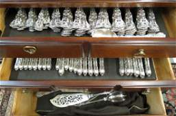 98 pc English Kings Sterling Flatware Set