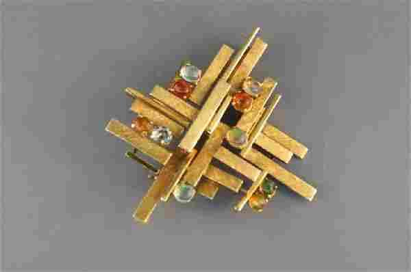 Fire Opal Brooch, Brutalist or Mid-Century