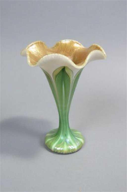 Quezal Art Glass Flower Form Vase