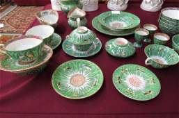 29 pc Chinese Famille Rose Cabbage Leaf Tableware,