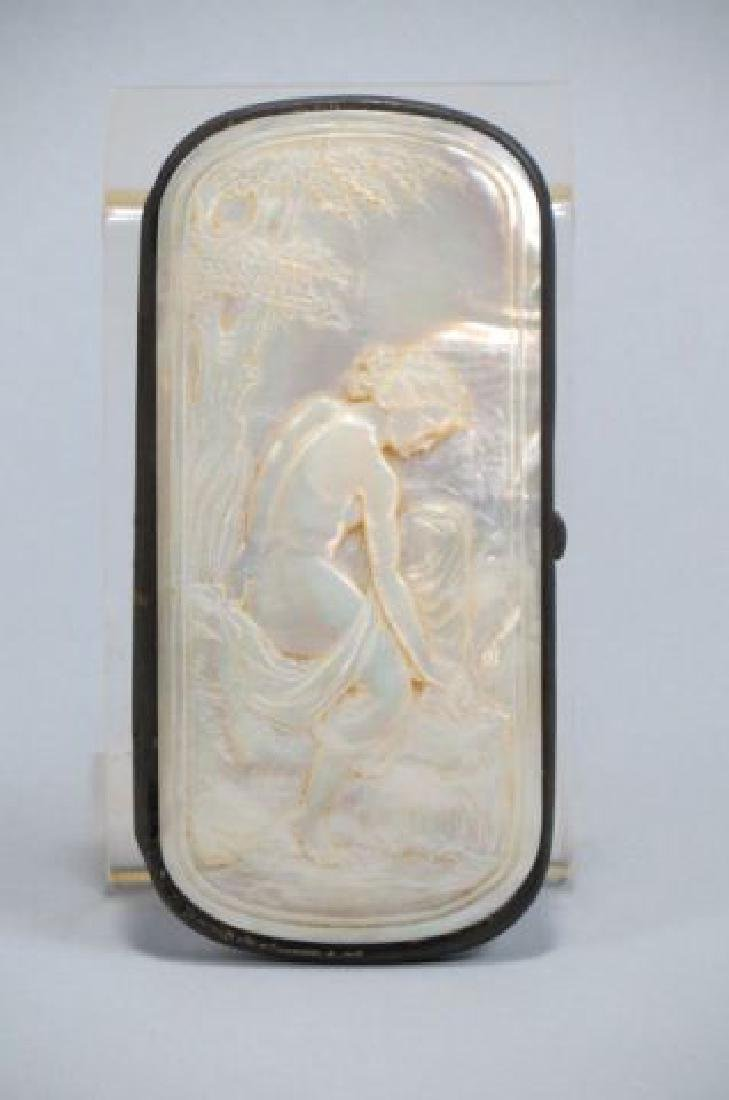 Victorian Carved Mother-of-Pearl Eye Glass Case,
