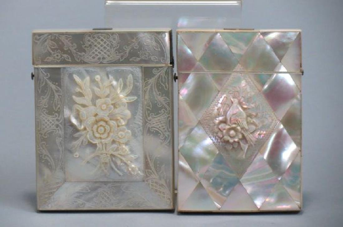 2 Victorian Mother-of-Pearl Calling Card Cases,