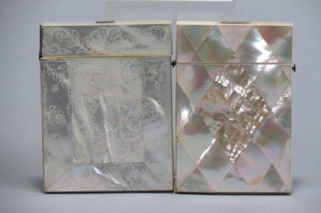 2 Victorian Mother-of-Pearl Calling Card Cases, - 2