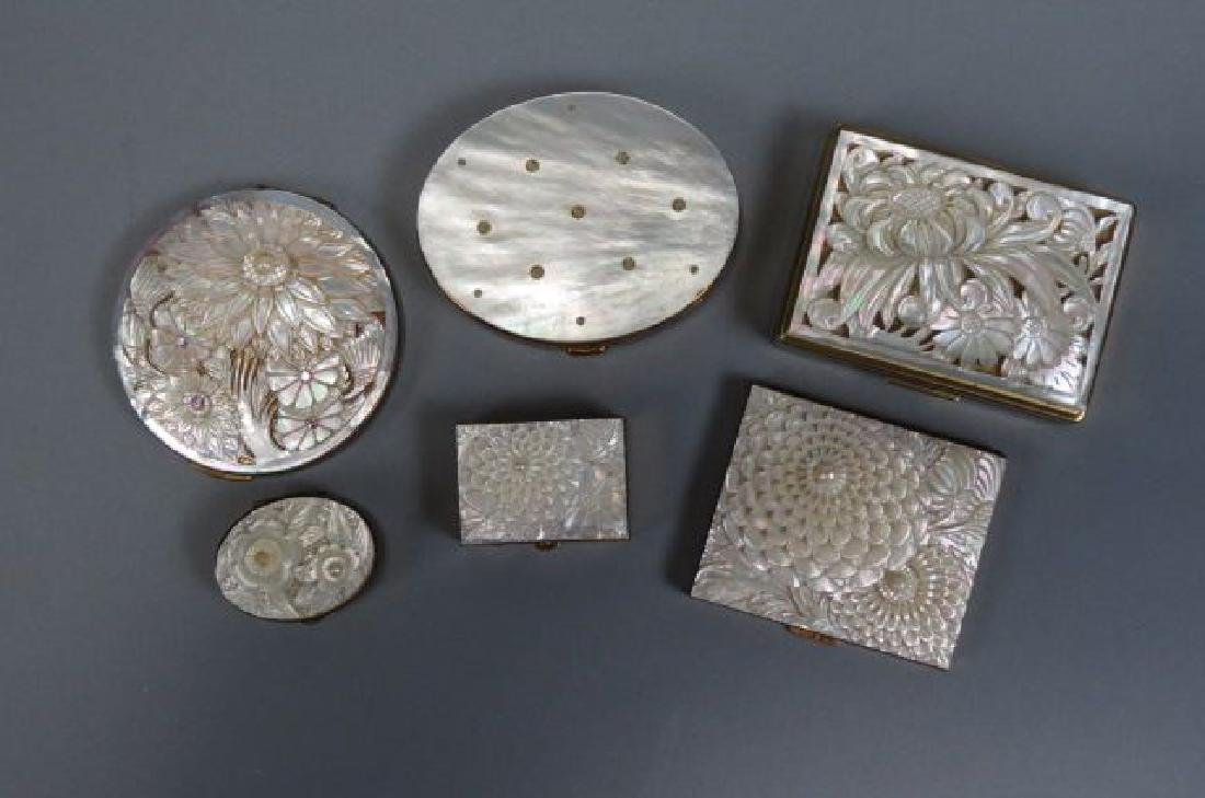 5 Carved Mother-of-Pearl Compacts,