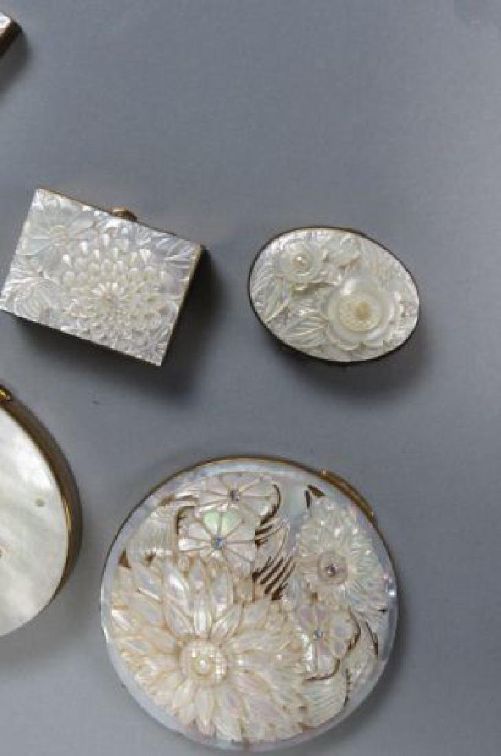 5 Carved Mother-of-Pearl Compacts, - 2