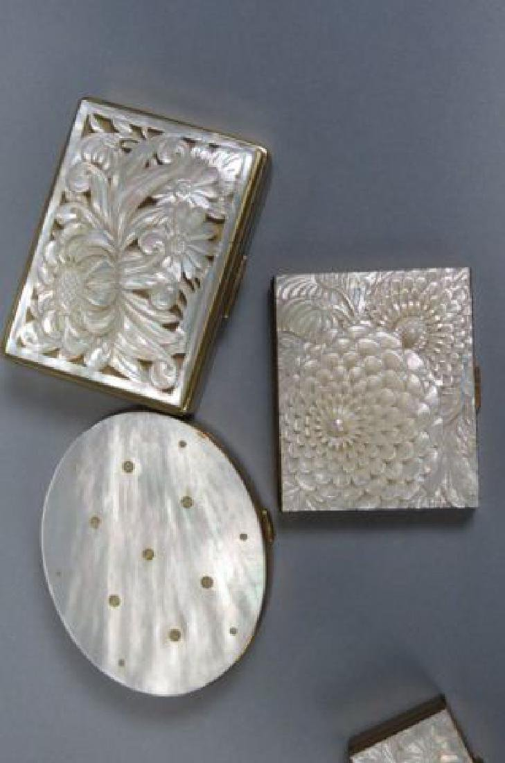 5 Carved Mother-of-Pearl Compacts, - 3