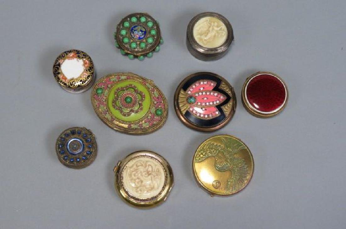 Lot of 10 Vintage Boxes & Compacts,