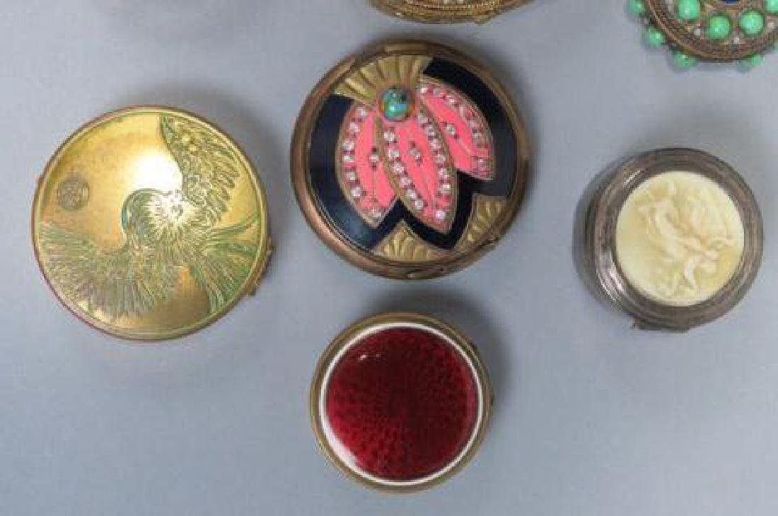 Lot of 10 Vintage Boxes & Compacts, - 2