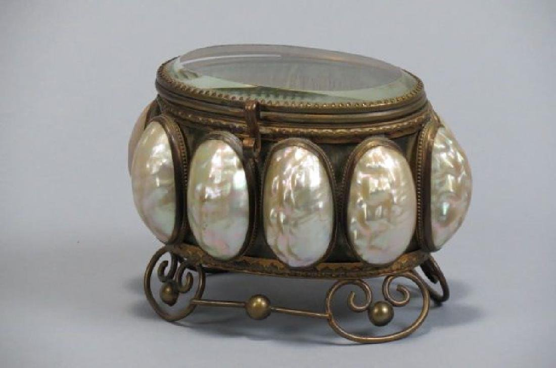 Victorian Shell Decorated Brass Dresser Box,