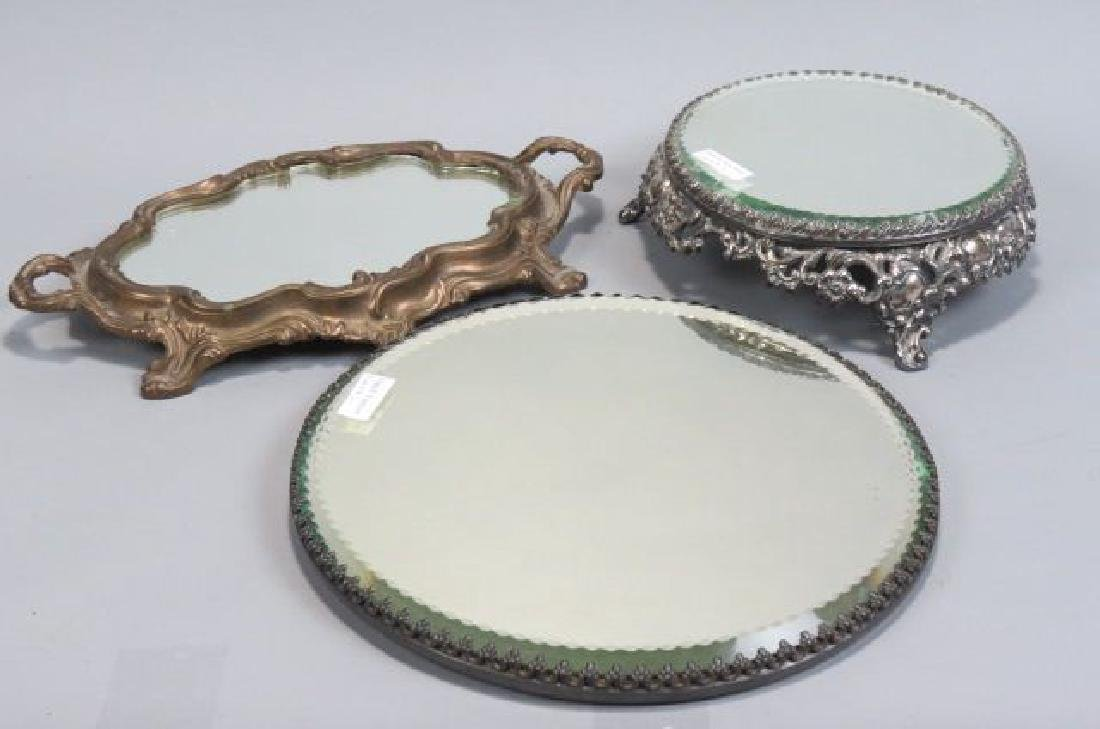 3 Mirrored Dresser Plateaus,