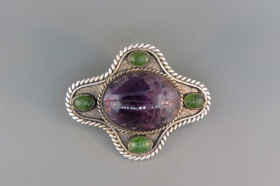 Scarab Brooch, carved amethyst and jade