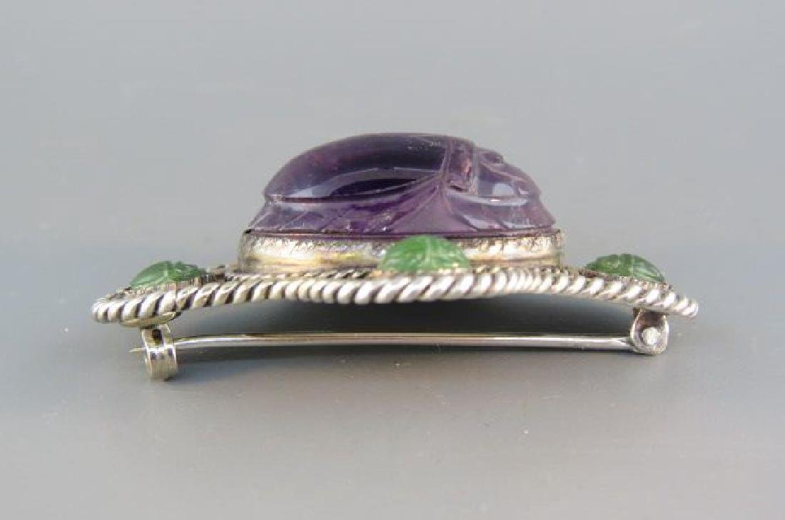 Scarab Brooch, carved amethyst and jade - 3