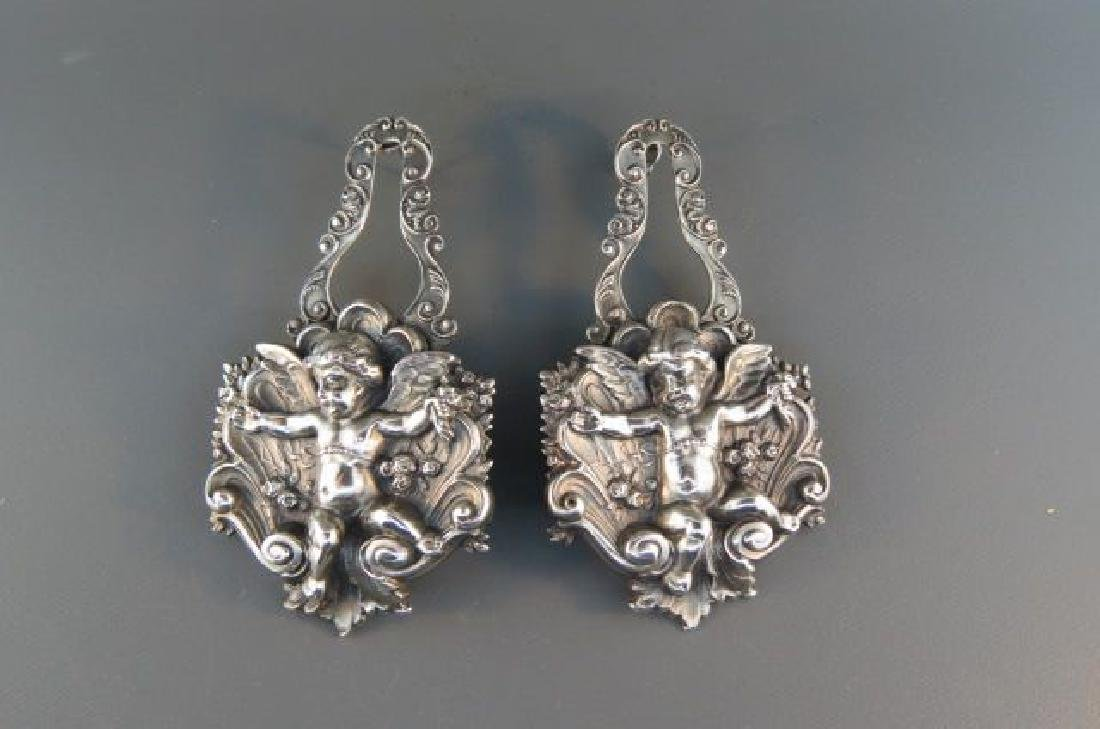 Victorian Art Nouveau Sterling Cherub Earrings,