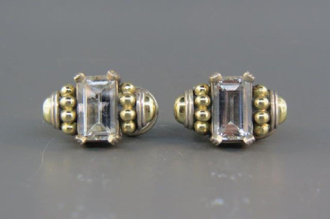 Caviar 18K Gold & Sterling Gem Set Earrings,