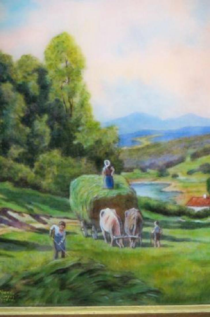 Camille Faure Limoges Enamel Plaque of Hay Harvest