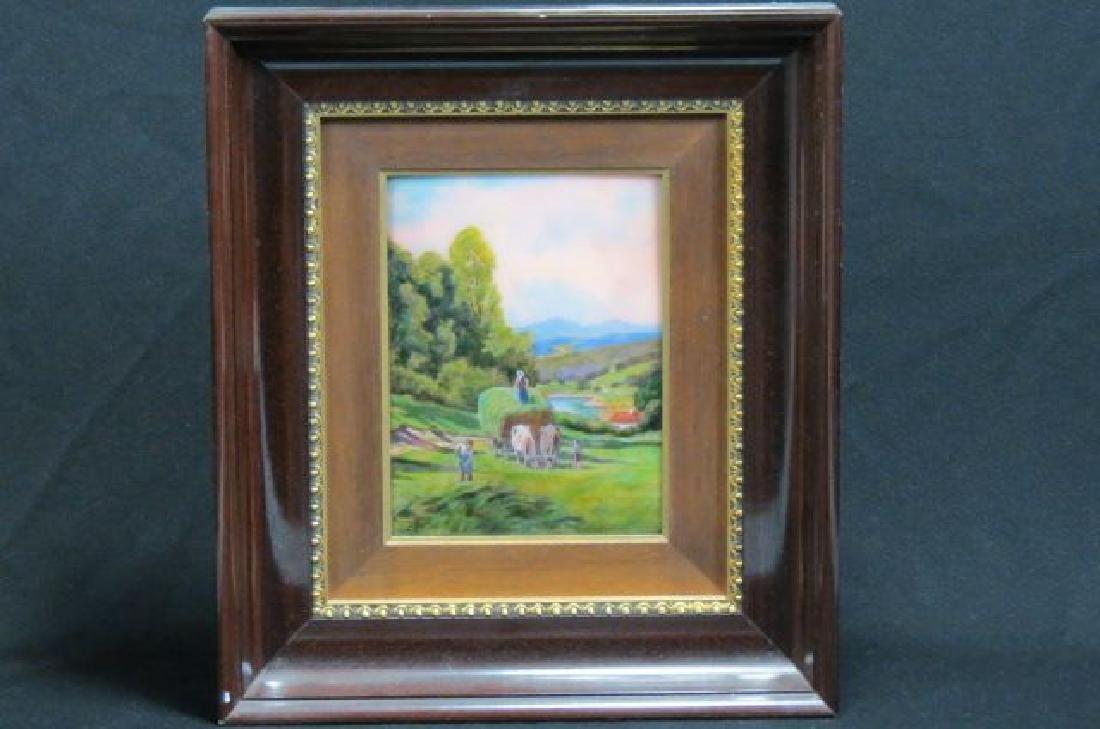 Camille Faure Limoges Enamel Plaque of Hay Harvest - 2