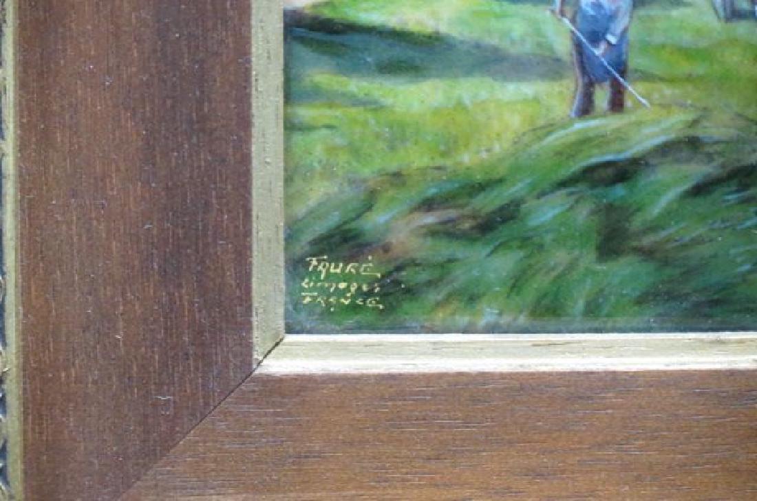 Camille Faure Limoges Enamel Plaque of Hay Harvest - 3