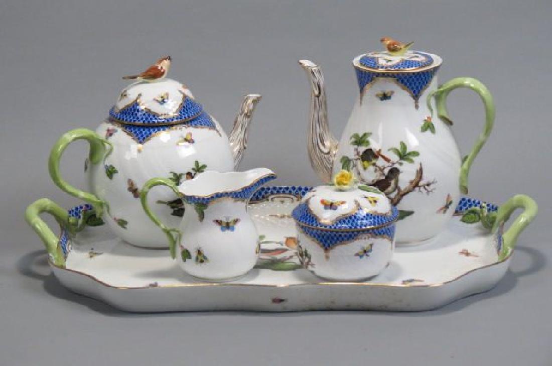 "Herend Porcelain ""Rothschild Bird"" Tea/Coffee Set"