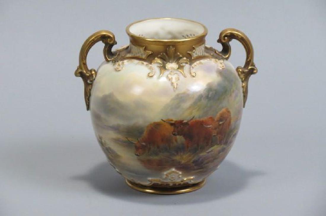 """Royal Worcester Handpainted Vase """"Highland Cattle"""""""