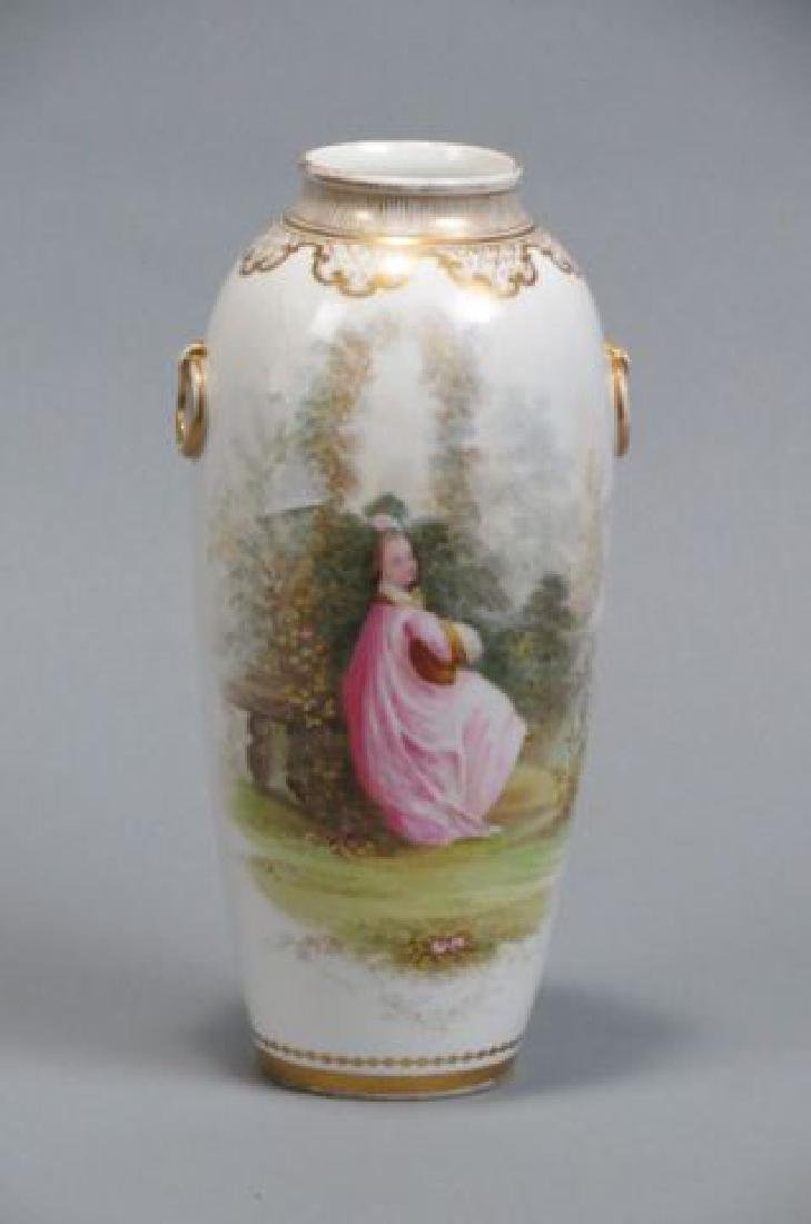 Handpainted Porcelain Vase with Maiden,
