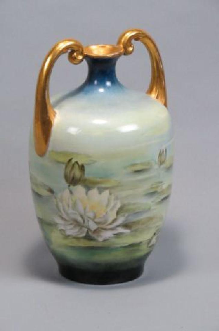 """Limoges Handpainted """"Water Lilies"""" Porcelain Vase"""