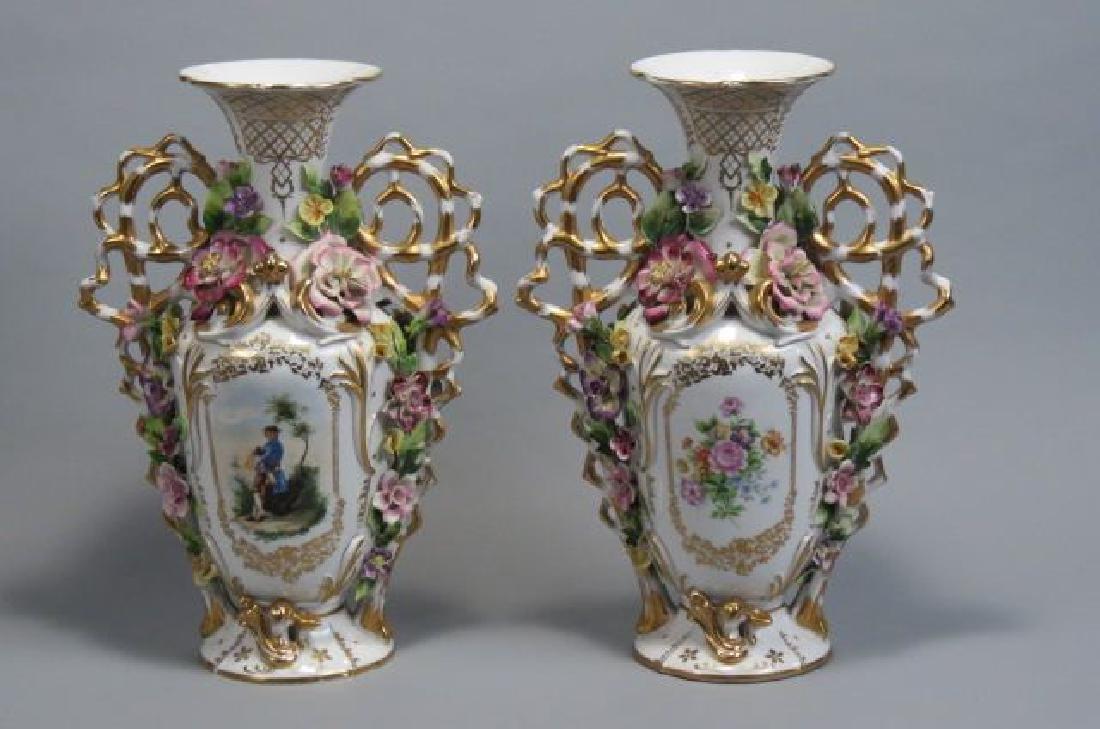 Pair of Elaborate Porcealin Vases,
