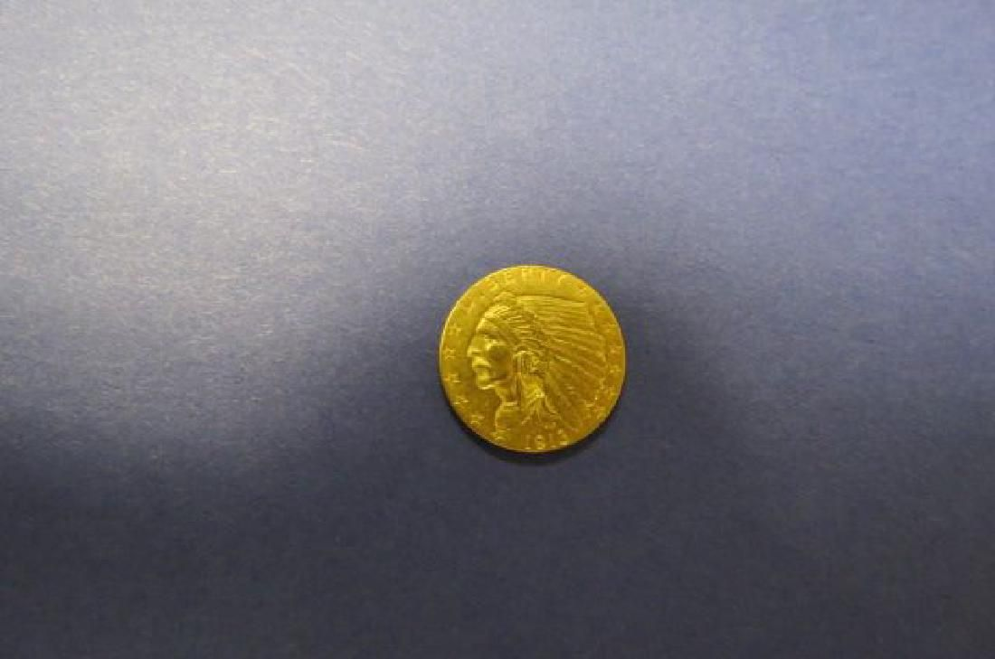 1913 U.S. $2.50 Indian Head Gold Coin,