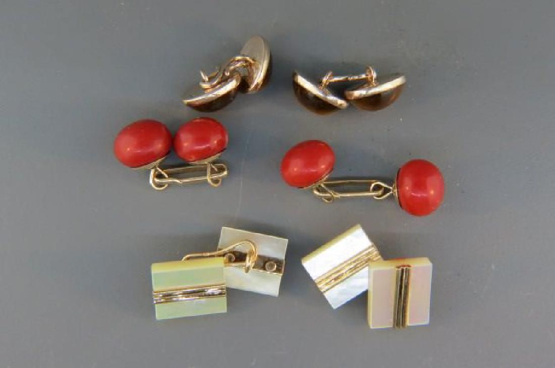 3 Pair of  Gold Cufflinks; rich red coral,