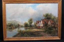 "Frederick W. Watts, oil, "" A View in Dedham"""