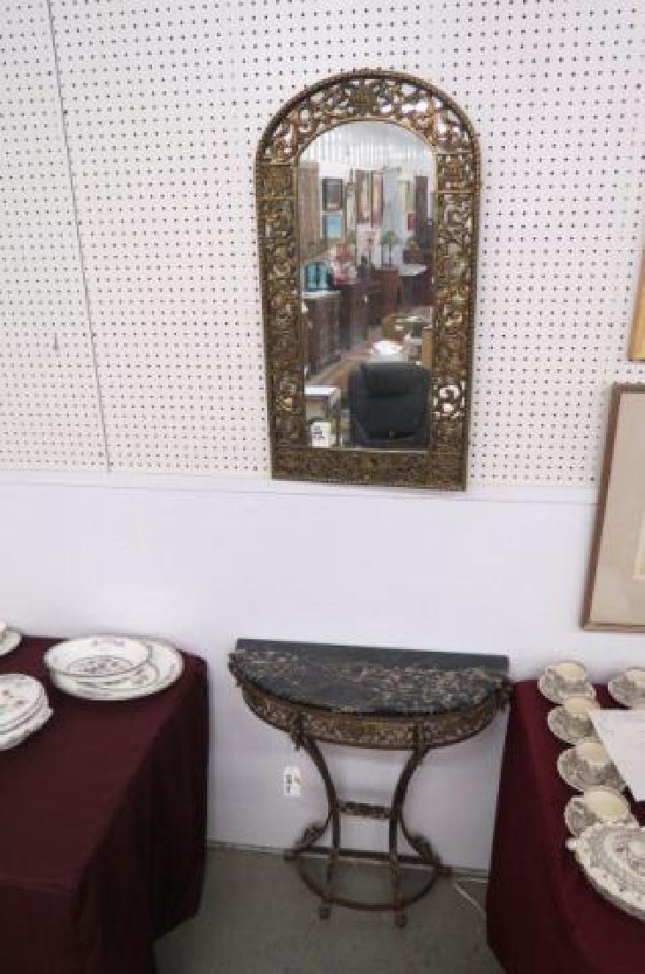 Oscar Bach Bronzed Console Table & Mirror,