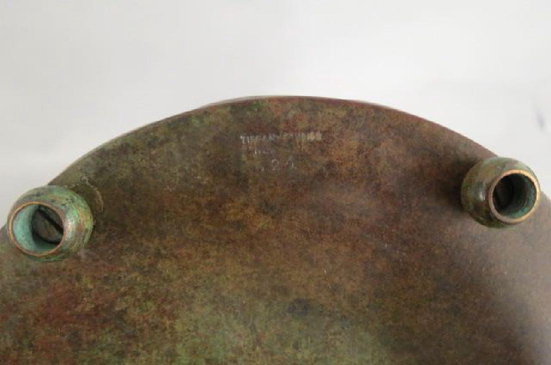 Tiffany Studios Bronze & Art Glass Lamp, - 10