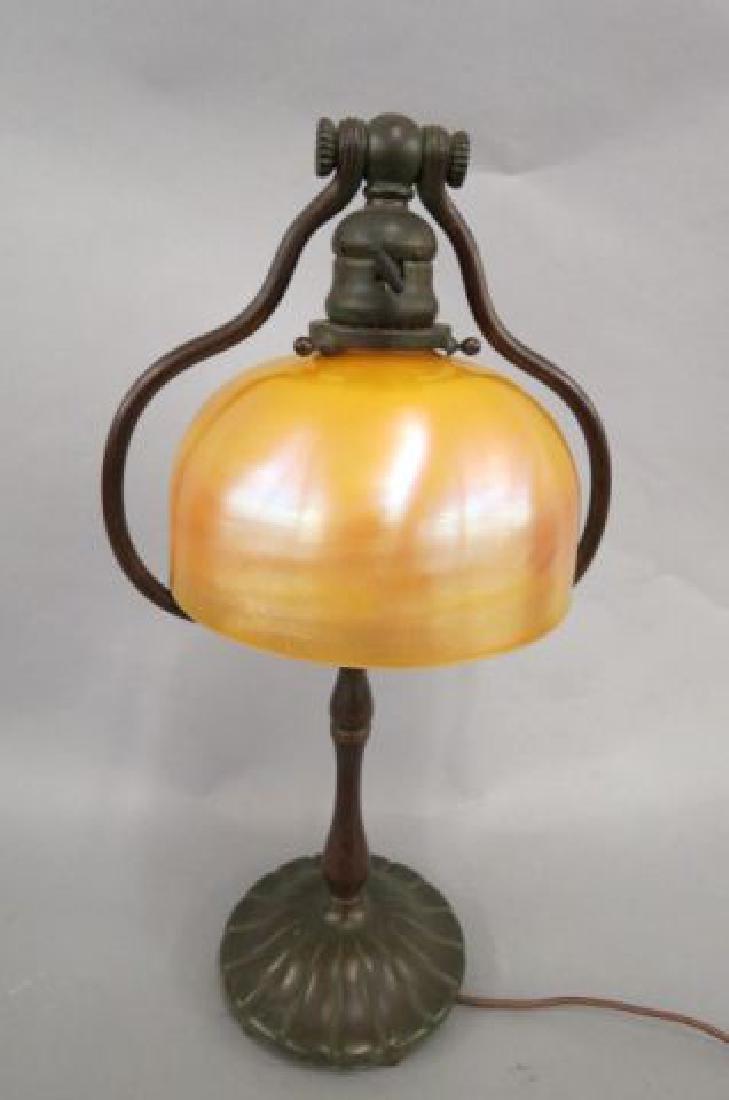 Tiffany Studios Bronze & Art Glass Lamp, - 2