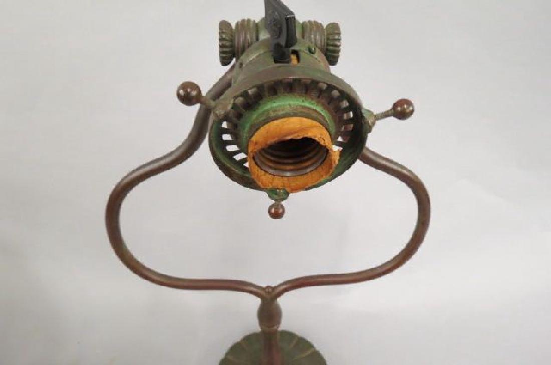 Tiffany Studios Bronze & Art Glass Lamp, - 8