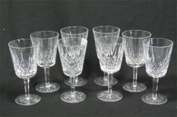 """8 Waterford """"Lismore"""" Cut Crystal Goblets,"""