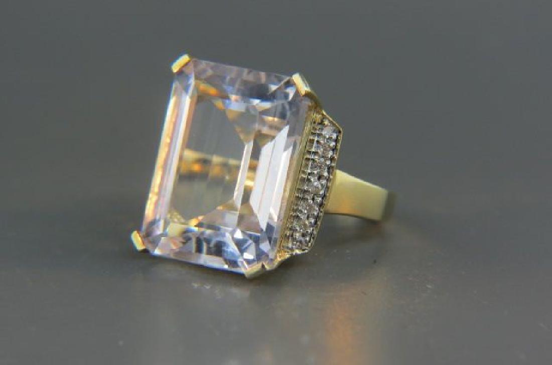 Topaz & Diamond Ring, fine large light pink gem