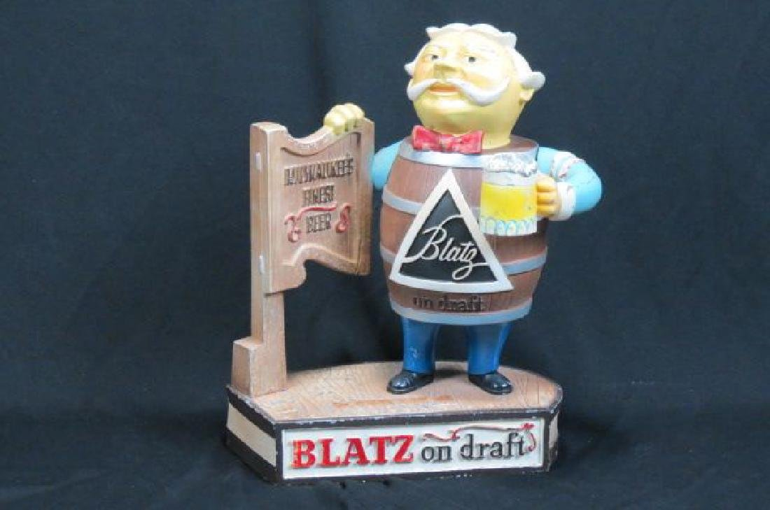 """Vintage Metal Figural """"Blatz"""" Beer Advertising,"""