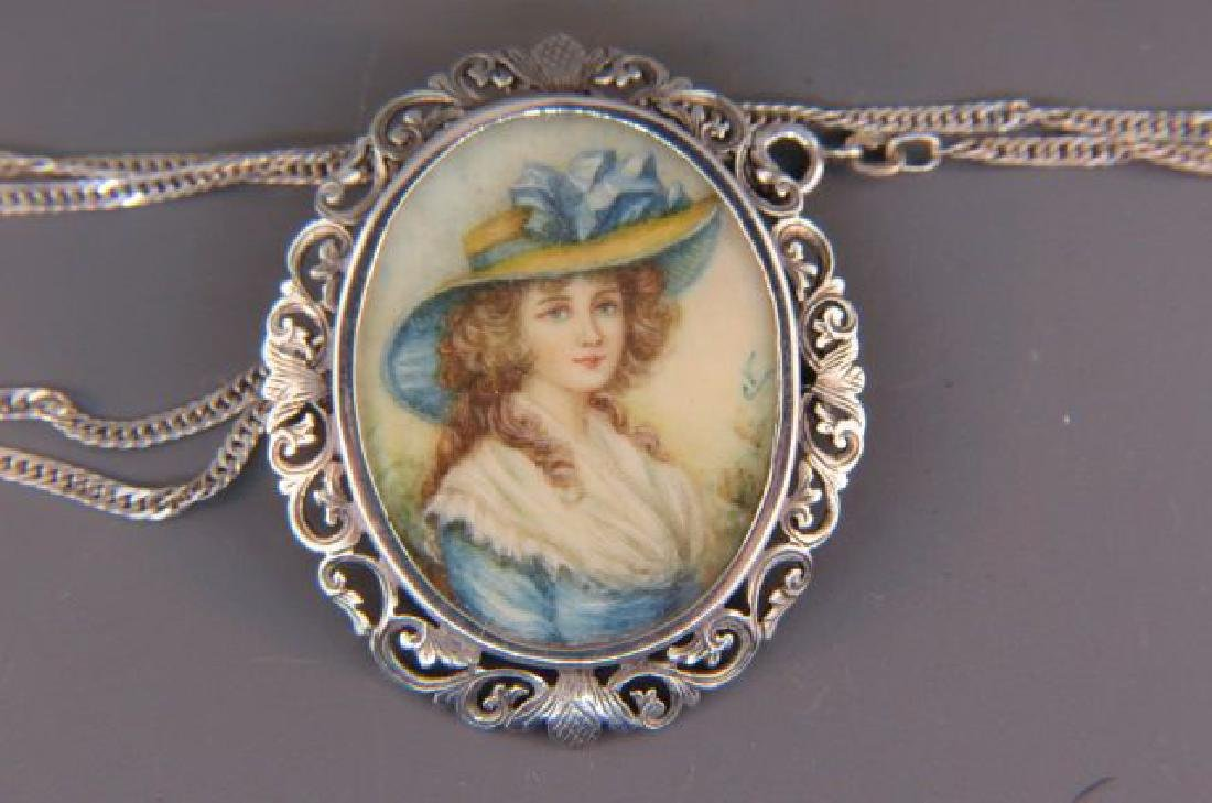 Fine Brooch with Miniature Painting of Lady,